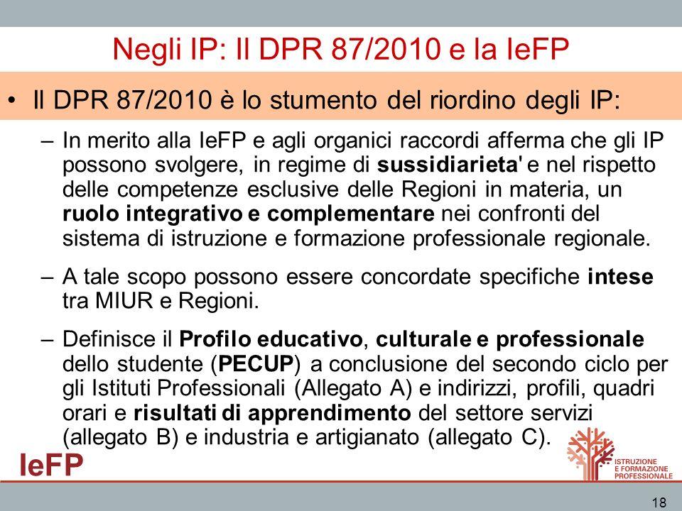 IeFP 18 Negli IP: Il DPR 87/2010 e la IeFP Il DPR 87/2010 è lo stumento del riordino degli IP: –In merito alla IeFP e agli organici raccordi afferma c