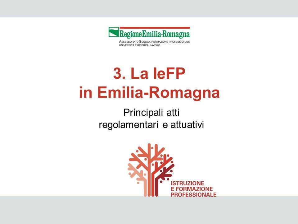 IeFP 21 Principali atti regolamentari e attuativi 3. La IeFP in Emilia-Romagna