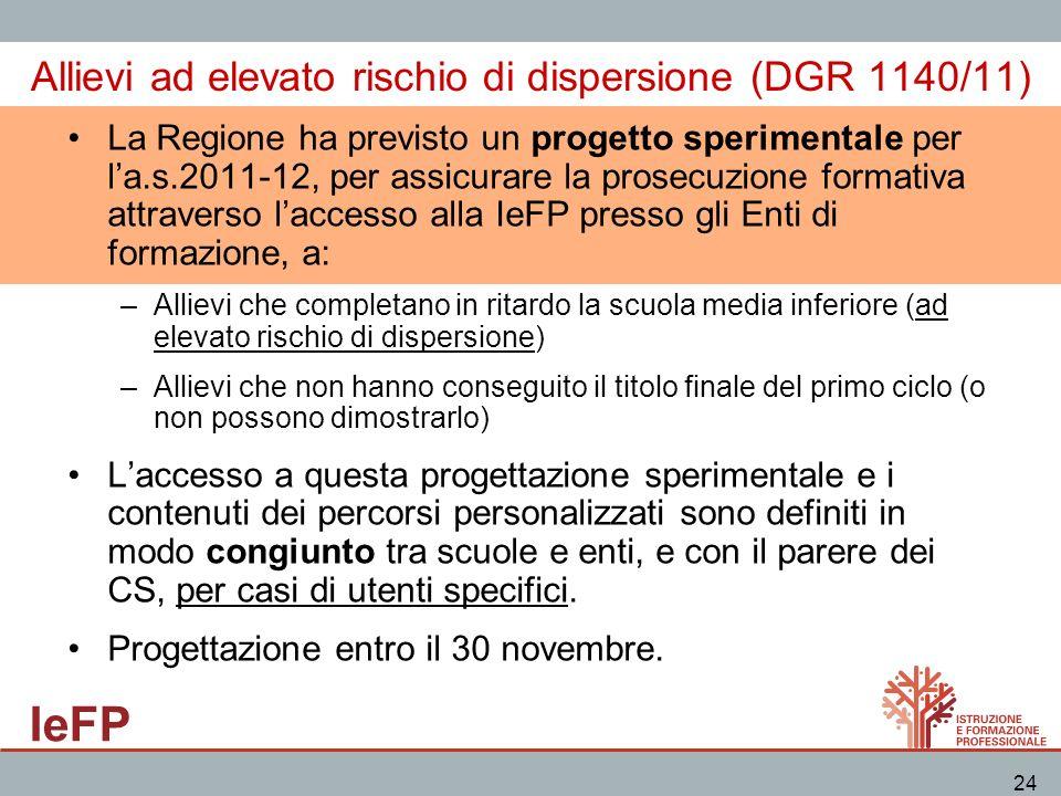 IeFP 24 Allievi ad elevato rischio di dispersione (DGR 1140/11) La Regione ha previsto un progetto sperimentale per la.s.2011-12, per assicurare la pr
