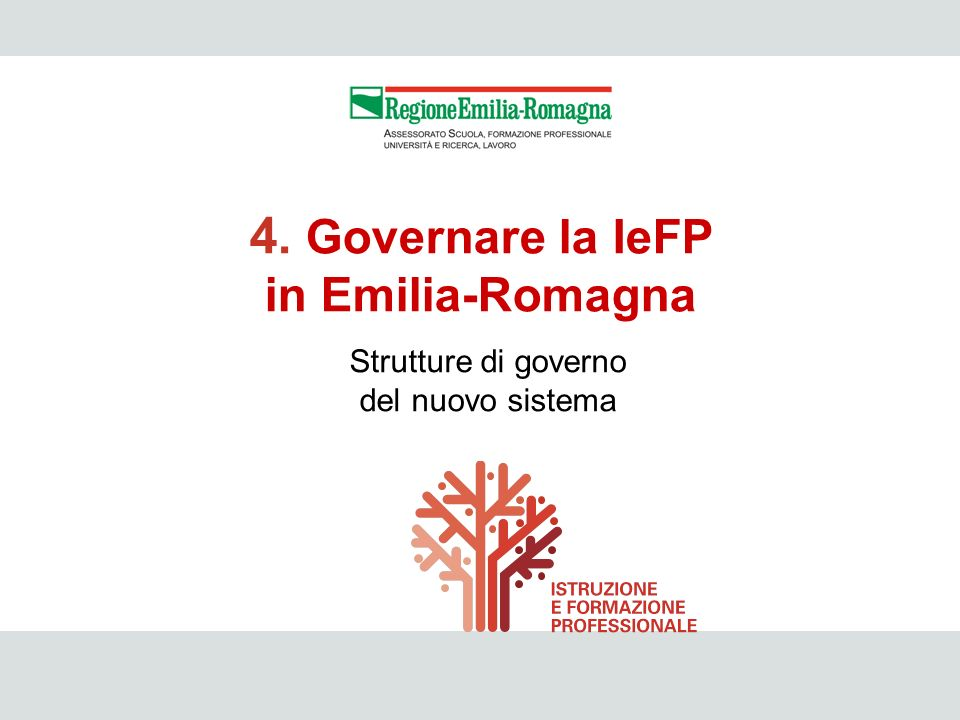 IeFP 25 Strutture di governo del nuovo sistema 4. Governare la IeFP in Emilia-Romagna