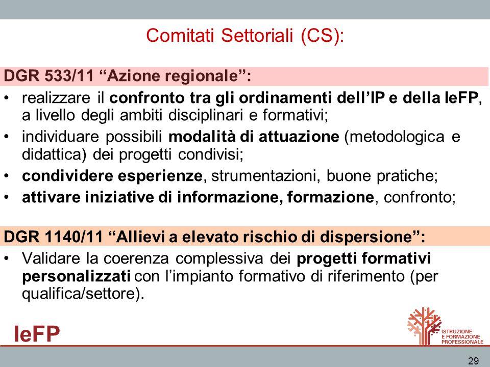 IeFP 29 Comitati Settoriali (CS): DGR 533/11 Azione regionale: realizzare il confronto tra gli ordinamenti dellIP e della IeFP, a livello degli ambiti