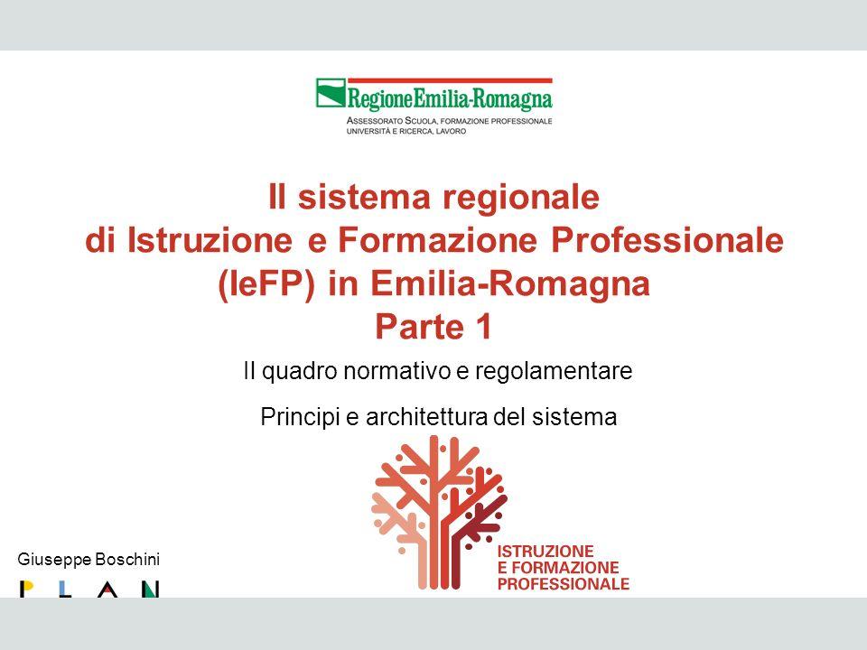 IeFP 3 Il sistema regionale di Istruzione e Formazione Professionale (IeFP) in Emilia-Romagna Parte 1 Giuseppe Boschini Il quadro normativo e regolame