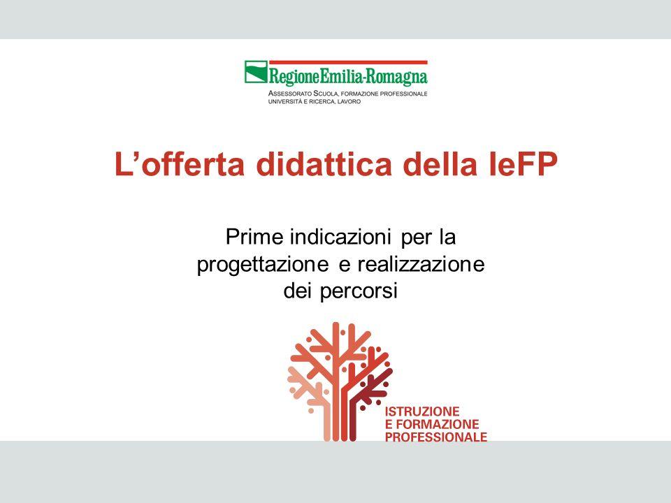 IeFP 34 Prime indicazioni per la progettazione e realizzazione dei percorsi Lofferta didattica della IeFP