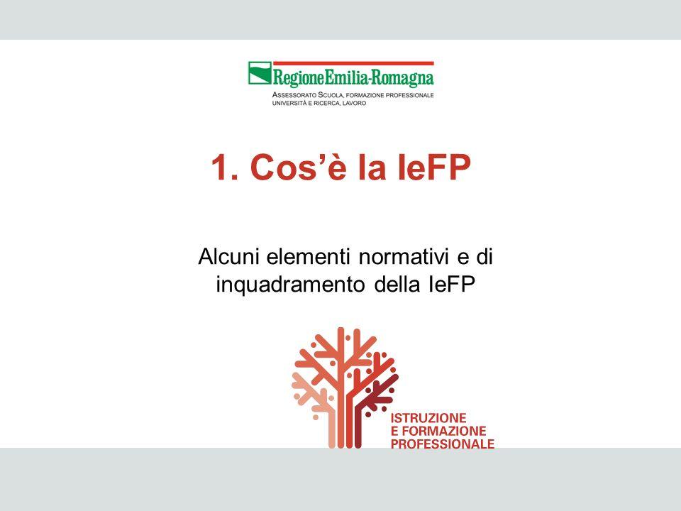 IeFP 4 Alcuni elementi normativi e di inquadramento della IeFP 1. Cosè la IeFP