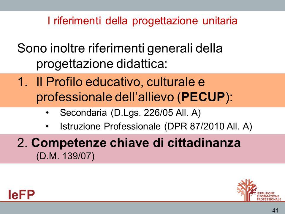 IeFP 41 I riferimenti della progettazione unitaria Sono inoltre riferimenti generali della progettazione didattica: 1.Il Profilo educativo, culturale