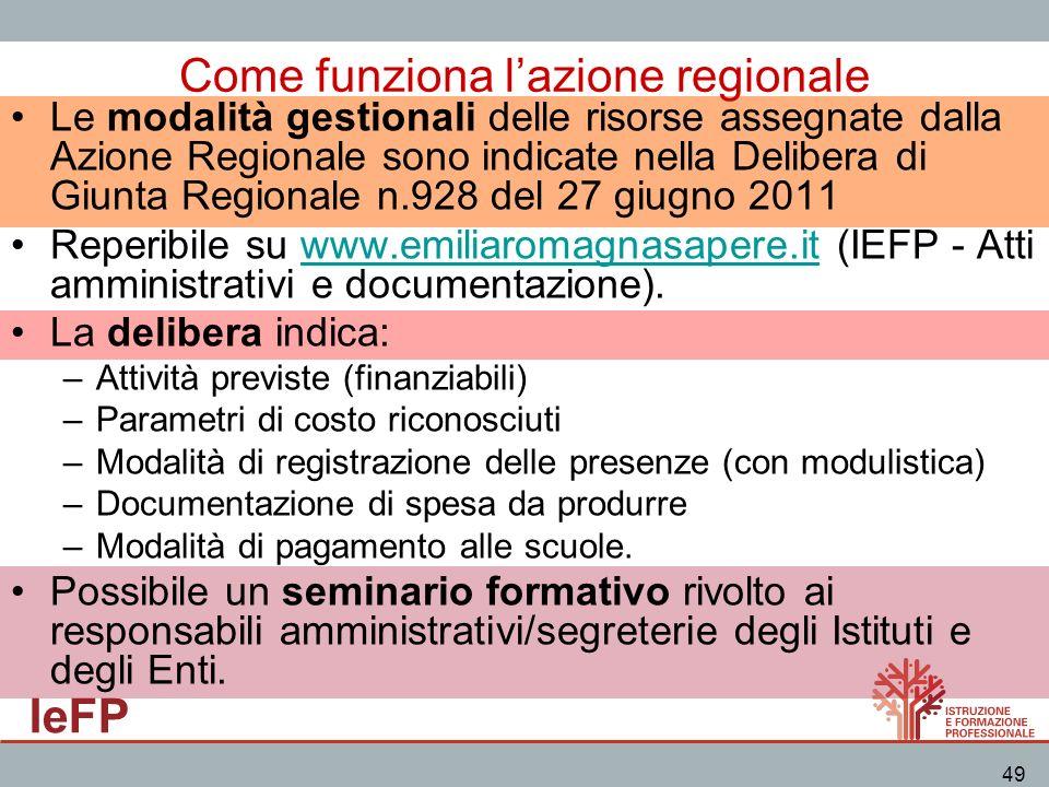 IeFP 49 Come funziona lazione regionale Le modalità gestionali delle risorse assegnate dalla Azione Regionale sono indicate nella Delibera di Giunta R