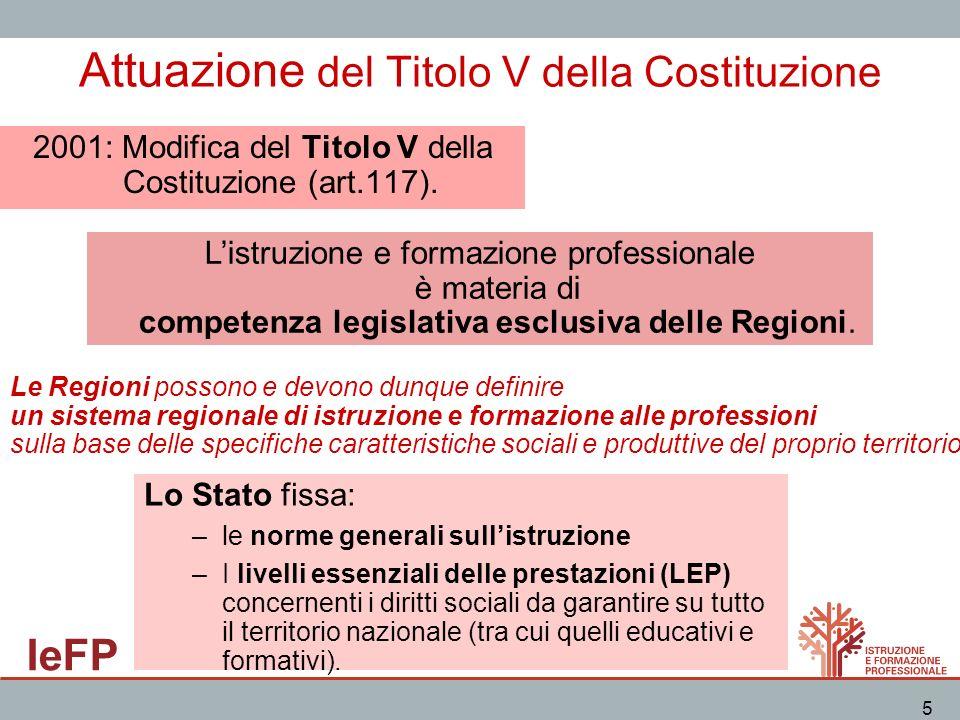 IeFP 5 Attuazione del Titolo V della Costituzione 2001: Modifica del Titolo V della Costituzione (art.117). Listruzione e formazione professionale è m