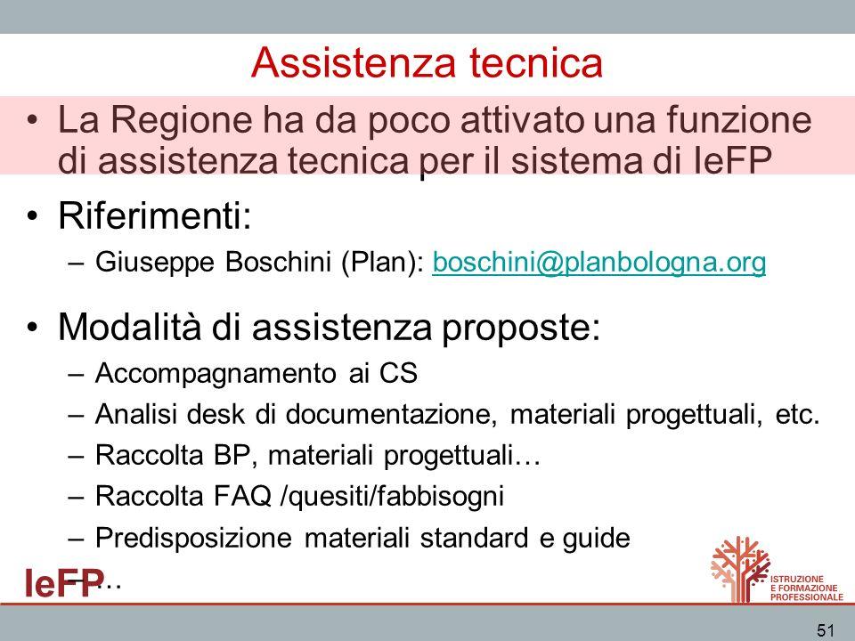 IeFP 51 Assistenza tecnica La Regione ha da poco attivato una funzione di assistenza tecnica per il sistema di IeFP Riferimenti: –Giuseppe Boschini (P