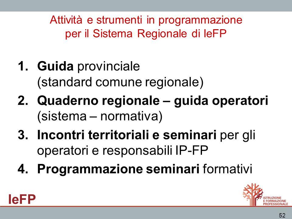 IeFP 52 Attività e strumenti in programmazione per il Sistema Regionale di IeFP 1.Guida provinciale (standard comune regionale) 2.Quaderno regionale –