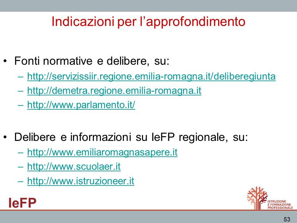 IeFP 53 Indicazioni per lapprofondimento Fonti normative e delibere, su: –http://servizissiir.regione.emilia-romagna.it/deliberegiunta –http://demetra
