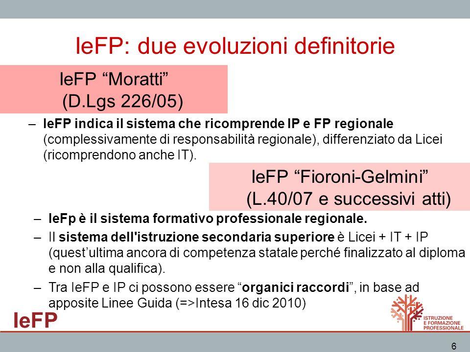 IeFP 6 IeFP: due evoluzioni definitorie –IeFP indica il sistema che ricomprende IP e FP regionale (complessivamente di responsabilità regionale), diff