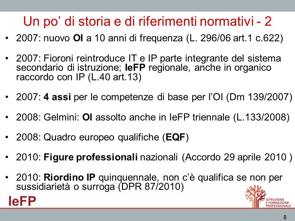IeFP 8 Un po di storia e di riferimenti normativi - 2 2007: nuovo OI a 10 anni di frequenza (L. 296/06 art.1 c.622) 2007: Fioroni reintroduce IT e IP