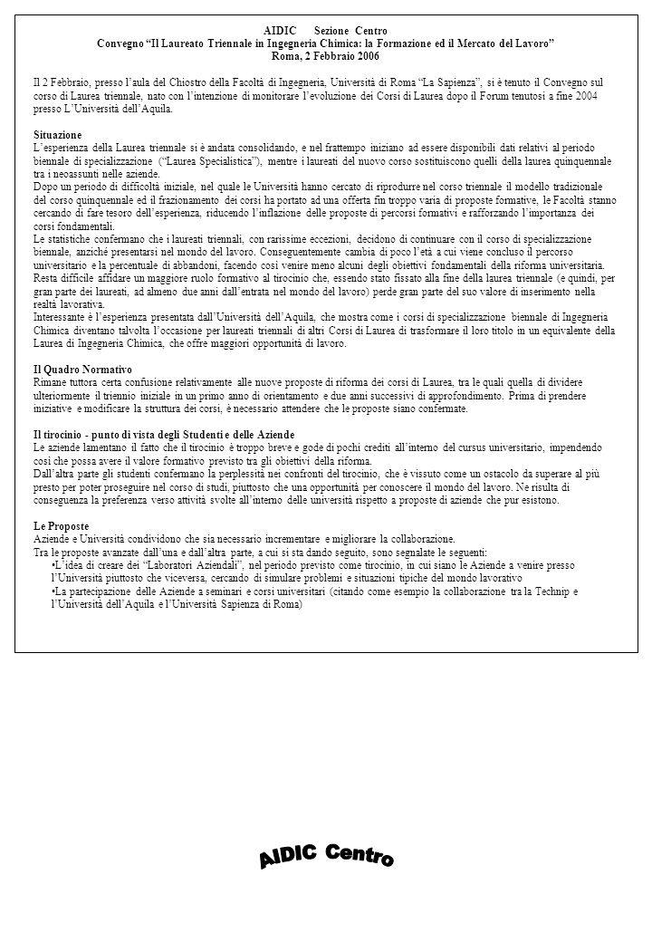 AIDIC Sezione Centro Convegno Il Laureato Triennale in Ingegneria Chimica: la Formazione ed il Mercato del Lavoro Roma, 2 Febbraio 2006 Il 2 Febbraio, presso laula del Chiostro della Facoltà di Ingegneria, Università di Roma La Sapienza, si è tenuto il Convegno sul corso di Laurea triennale, nato con lintenzione di monitorare levoluzione dei Corsi di Laurea dopo il Forum tenutosi a fine 2004 presso LUniversità dellAquila.