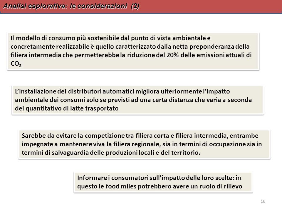 Analisi esplorativa: le considerazioni (2) 16 Il modello di consumo più sostenibile dal punto di vista ambientale e concretamente realizzabile è quell