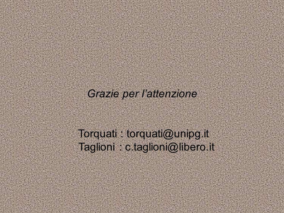 Grazie per lattenzione Torquati : torquati@unipg.it Taglioni : c.taglioni@libero.it