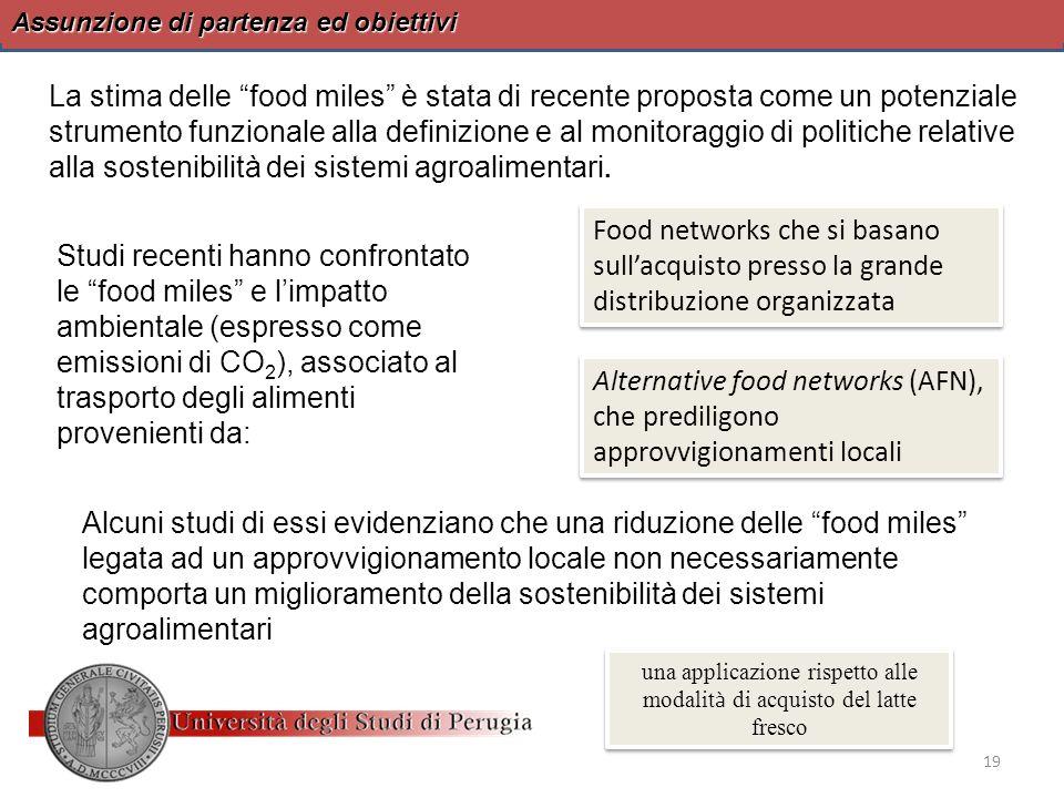 Assunzione di partenza ed obiettivi La stima delle food miles è stata di recente proposta come un potenziale strumento funzionale alla definizione e a
