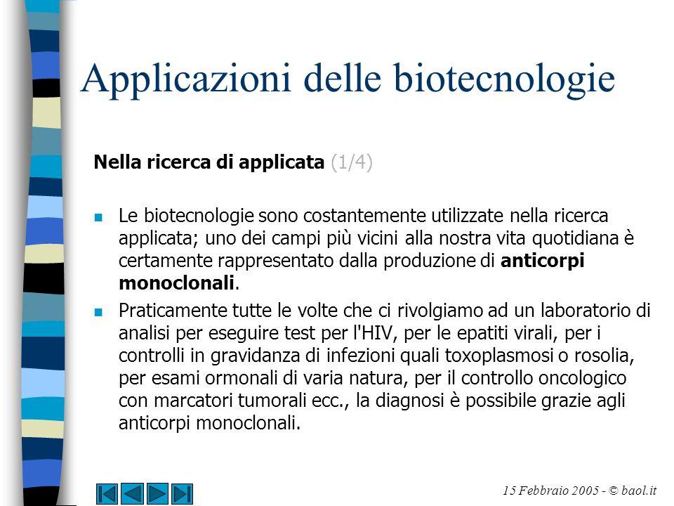 Applicazioni delle biotecnologie Nella ricerca di applicata (1/4) n Le biotecnologie sono costantemente utilizzate nella ricerca applicata; uno dei ca