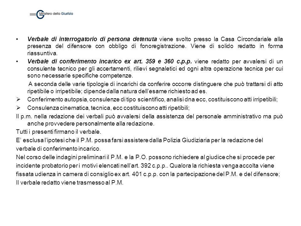 Verbale di interrogatorio di persona detenuta viene svolto presso la Casa Circondariale alla presenza del difensore con obbligo di fonoregistrazione.