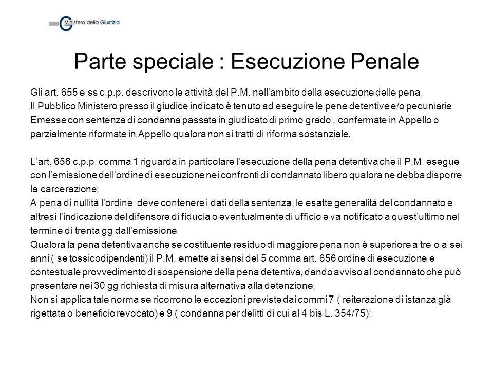 Parte speciale : Esecuzione Penale Gli art. 655 e ss c.p.p. descrivono le attività del P.M. nellambito della esecuzione delle pena. Il Pubblico Minist
