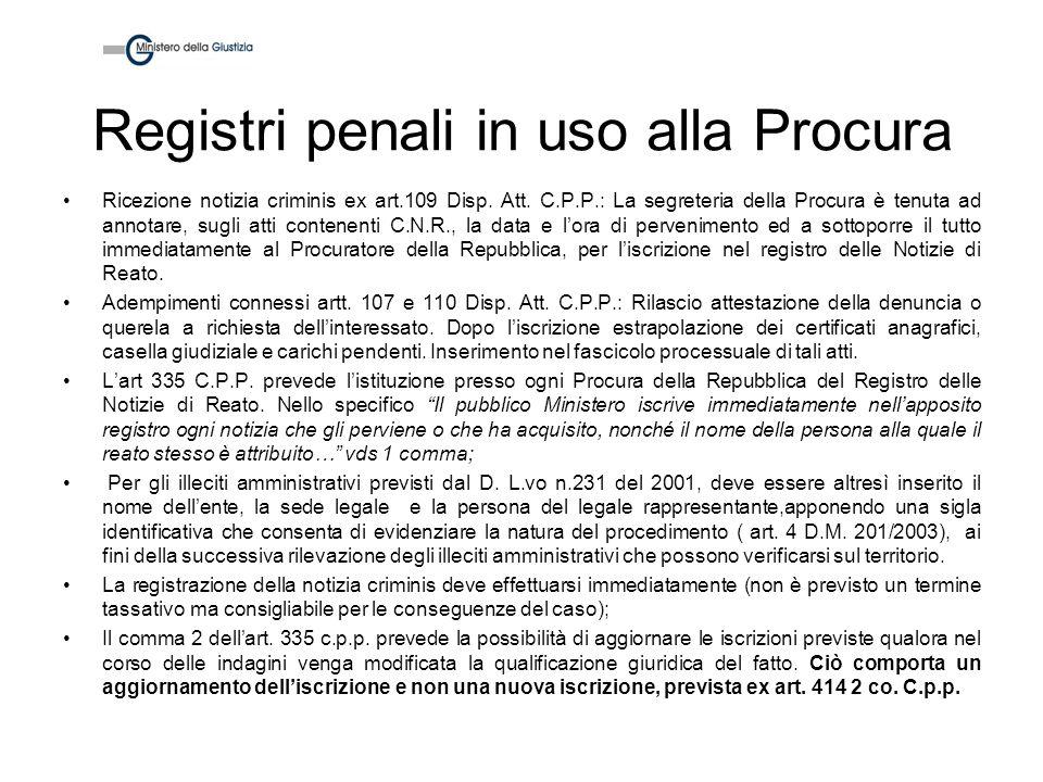 Registri penali in uso alla Procura Ricezione notizia criminis ex art.109 Disp. Att. C.P.P.: La segreteria della Procura è tenuta ad annotare, sugli a