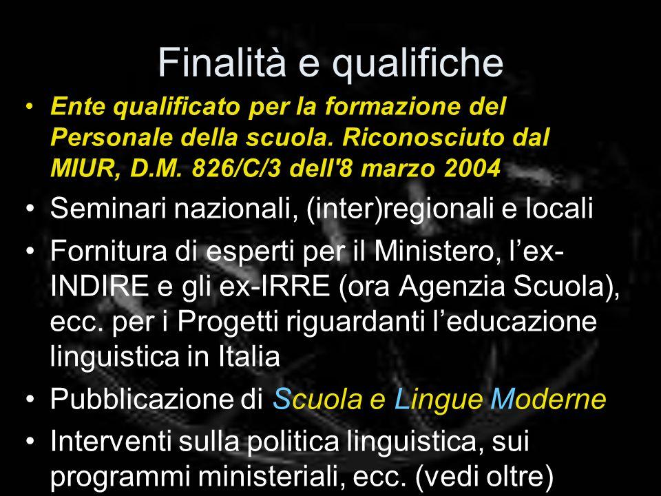 Finalità e qualifiche Ente qualificato per la formazione del Personale della scuola.