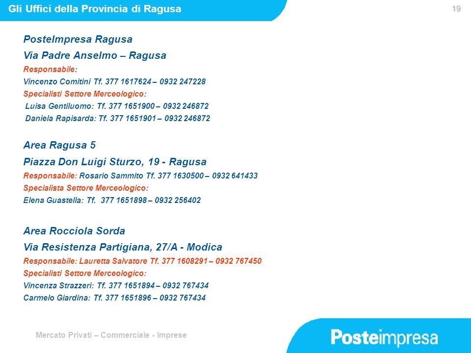 Mercato Privati – Commerciale - Imprese 19 19 Gli Uffici della Provincia di Ragusa PosteImpresa Ragusa Via Padre Anselmo – Ragusa Responsabile: Vincen