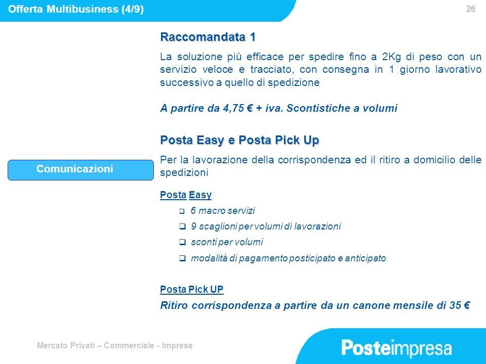 Mercato Privati – Commerciale - Imprese 26 26 Comunicazioni Offerta Multibusiness (4/9) Raccomandata 1 La soluzione più efficace per spedire fino a 2K
