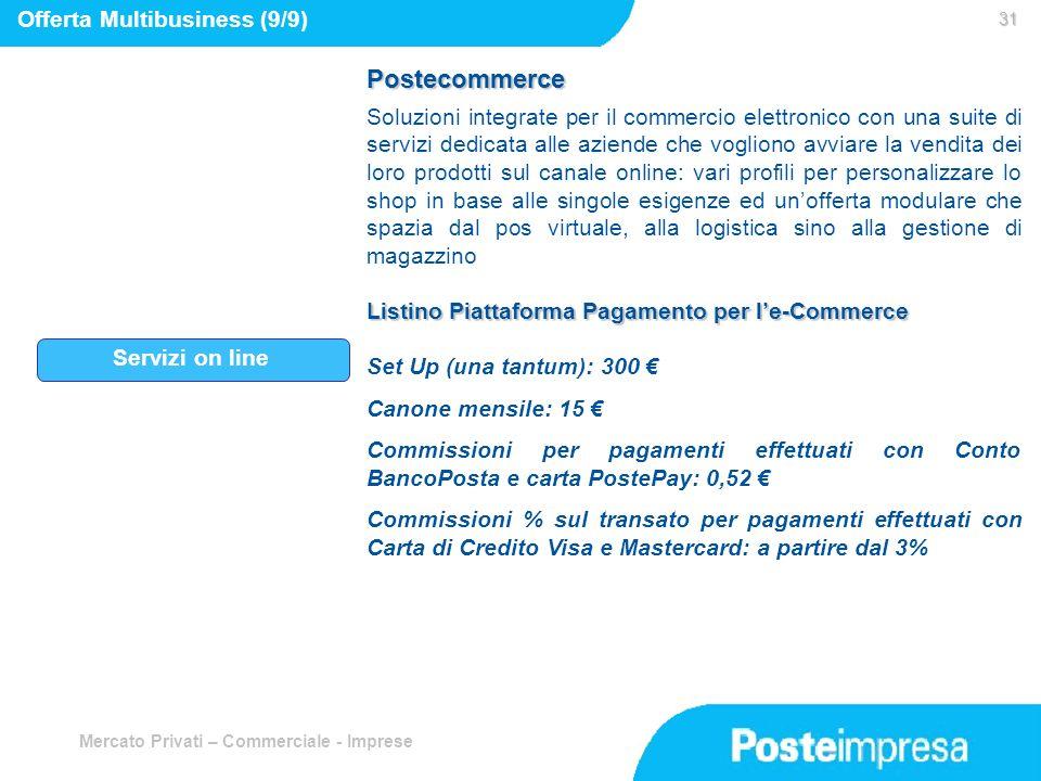 Mercato Privati – Commerciale - Imprese 31 31 Servizi on linePostecommerce Soluzioni integrate per il commercio elettronico con una suite di servizi d
