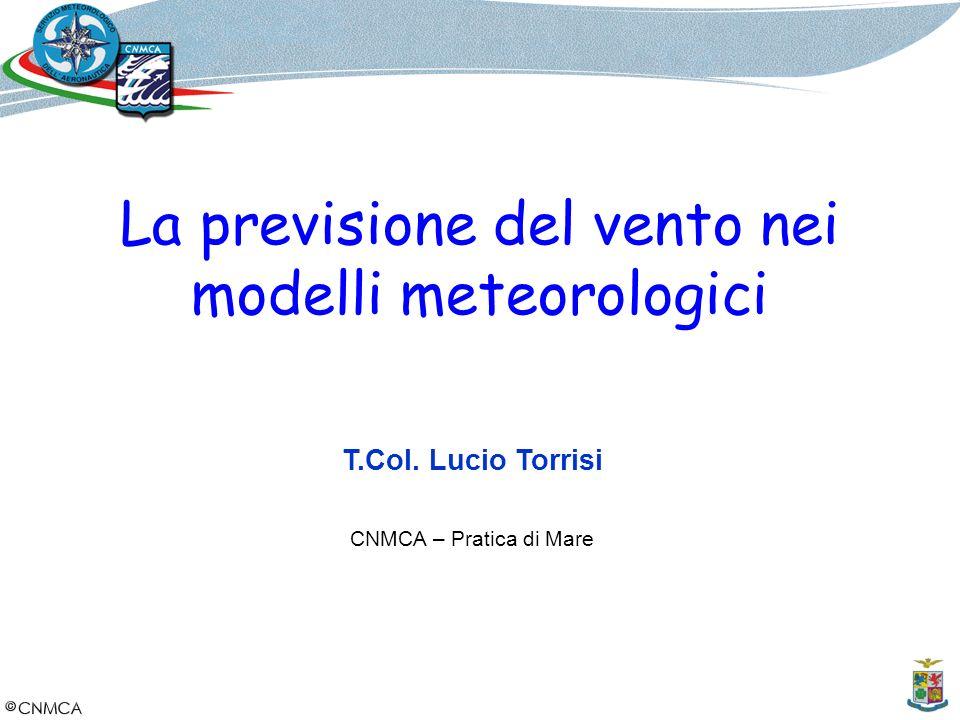 La previsione del vento nei modelli meteorologici T.Col. Lucio Torrisi CNMCA – Pratica di Mare