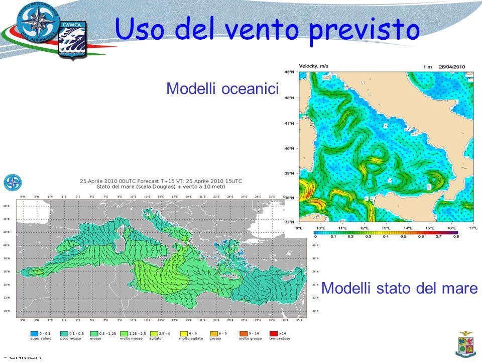 Uso del vento previsto Modelli oceanici Modelli stato del mare
