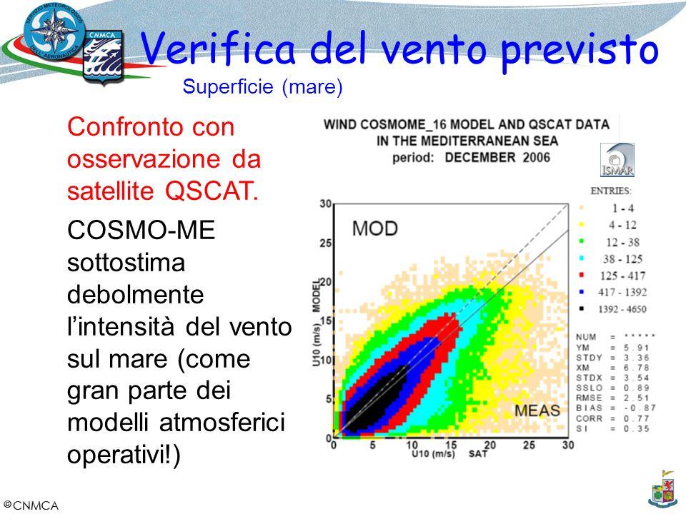 Confronto con osservazione da satellite QSCAT. COSMO-ME sottostima debolmente lintensità del vento sul mare (come gran parte dei modelli atmosferici o
