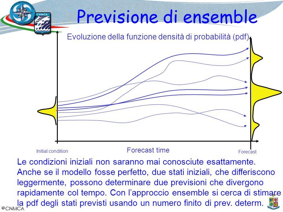 Previsione di ensemble Evoluzione della funzione densità di probabilità (pdf) Forecast time Initial condition Forecast Le condizioni iniziali non sara