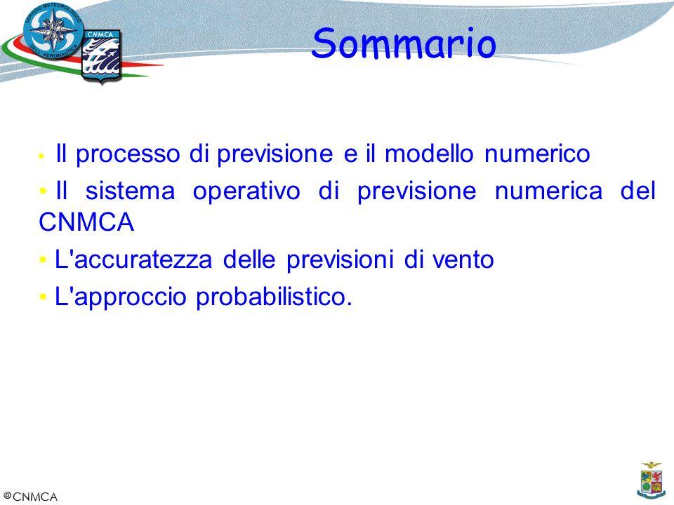 Sommario Il processo di previsione e il modello numerico Il sistema operativo di previsione numerica del CNMCA L'accuratezza delle previsioni di vento