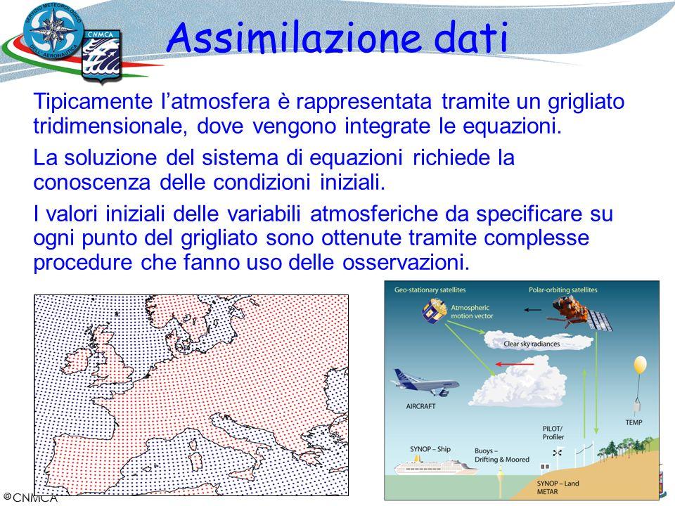 Assimilazione dati Tipicamente latmosfera è rappresentata tramite un grigliato tridimensionale, dove vengono integrate le equazioni. La soluzione del