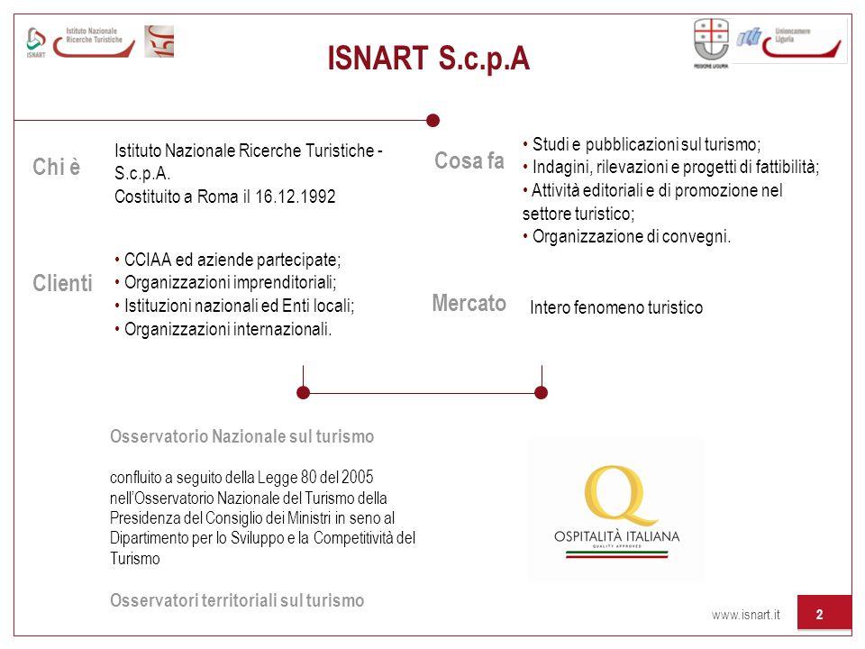 www.isnart.it 2 Istituto Nazionale Ricerche Turistiche - S.c.p.A. Costituito a Roma il 16.12.1992 Chi è Cosa fa Mercato Clienti Studi e pubblicazioni