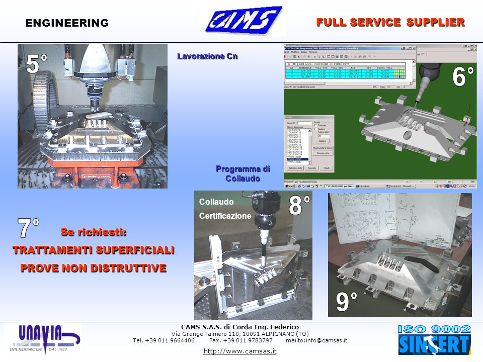 CAMS S.A.S. di Corda Ing. Federico Via Grange Palmero 110, 10091 ALPIGNANO (TO) Tel. +39 011 9664406 Fax. +39 011 9783797 mailto:info@camsas.it http:/