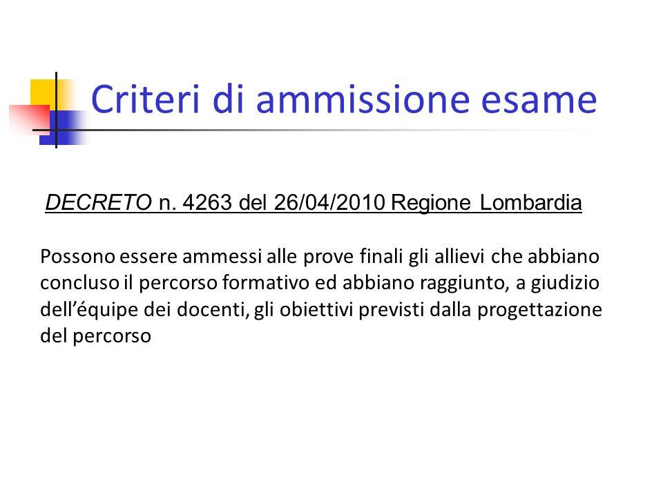 Criteri di ammissione esame DECRETO n.