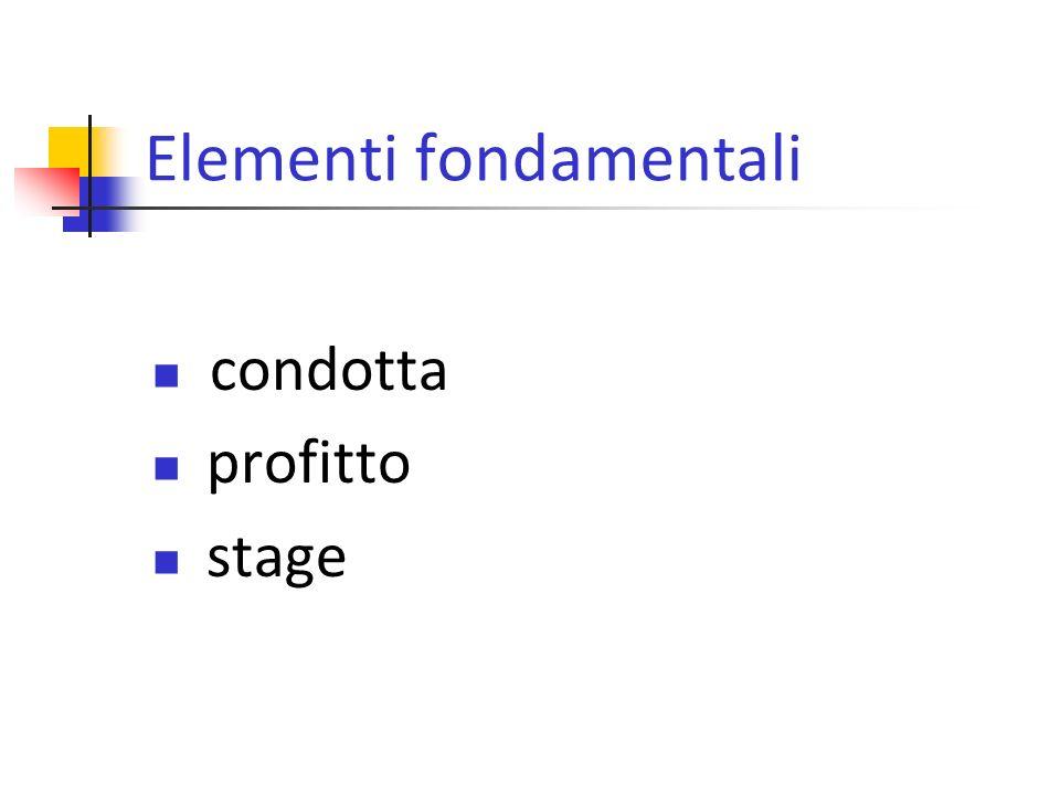 Elementi fondamentali condotta profitto stage