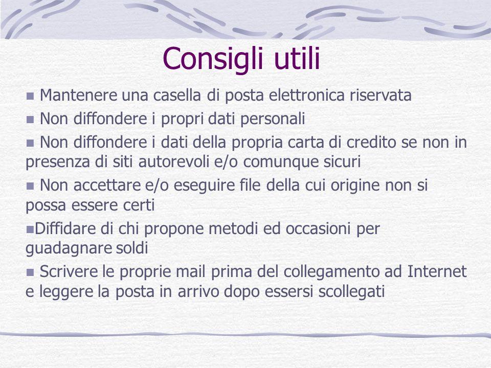 Consigli utili Mantenere una casella di posta elettronica riservata Non diffondere i propri dati personali Non diffondere i dati della propria carta d