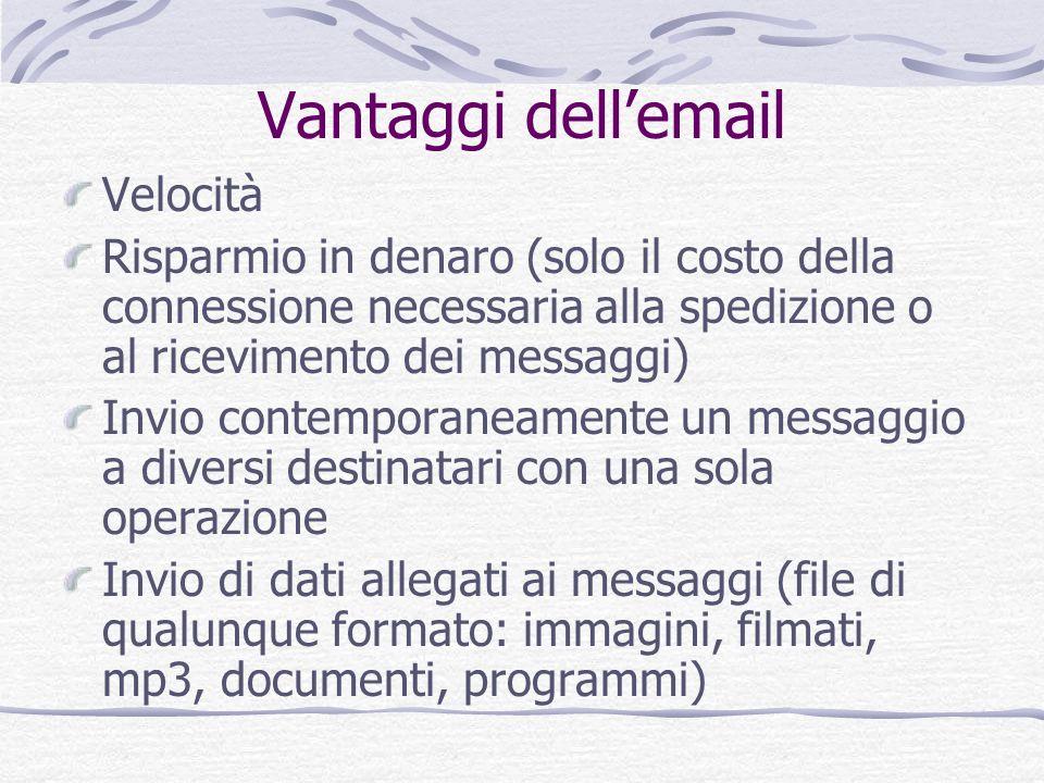 Vantaggi dellemail Velocità Risparmio in denaro (solo il costo della connessione necessaria alla spedizione o al ricevimento dei messaggi) Invio conte