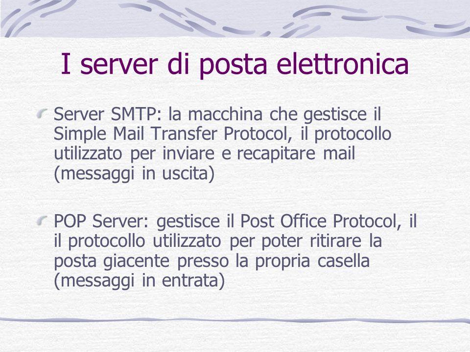 Server SMTP: la macchina che gestisce il Simple Mail Transfer Protocol, il protocollo utilizzato per inviare e recapitare mail (messaggi in uscita) PO