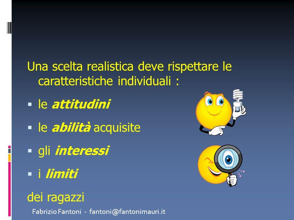 Una scelta realistica deve rispettare le caratteristiche individuali : le attitudini le abilità acquisite gli interessi i limiti dei ragazzi Fabrizio