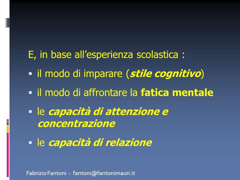 E, in base allesperienza scolastica : il modo di imparare (stile cognitivo) il modo di affrontare la fatica mentale le capacità di attenzione e concen