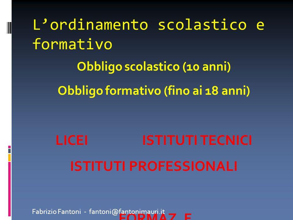 Lordinamento scolastico e formativo Obbligo scolastico (10 anni) Obbligo formativo (fino ai 18 anni) LICEI ISTITUTI TECNICI ISTITUTI PROFESSIONALI FOR