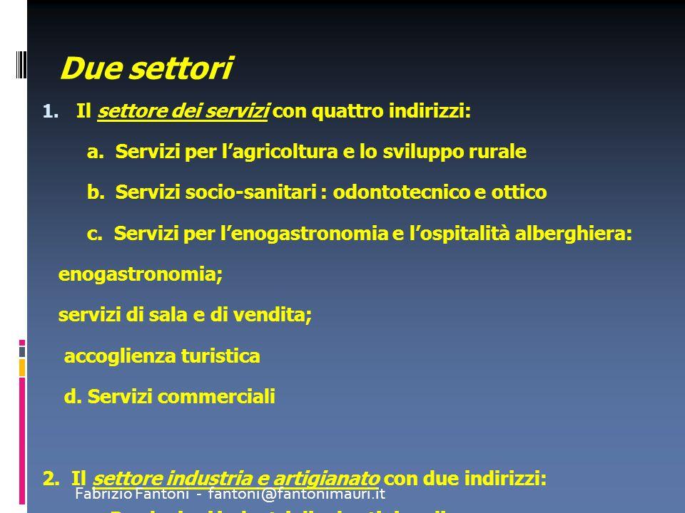 Due settori 1. Il settore dei servizi con quattro indirizzi: a. Servizi per lagricoltura e lo sviluppo rurale b. Servizi socio-sanitari : odontotecnic