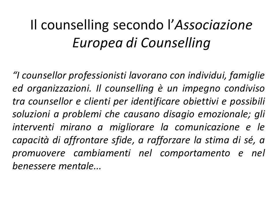 Il counselling secondo lAssociazione Europea di Counselling I counsellor professionisti lavorano con individui, famiglie ed organizzazioni. Il counsel