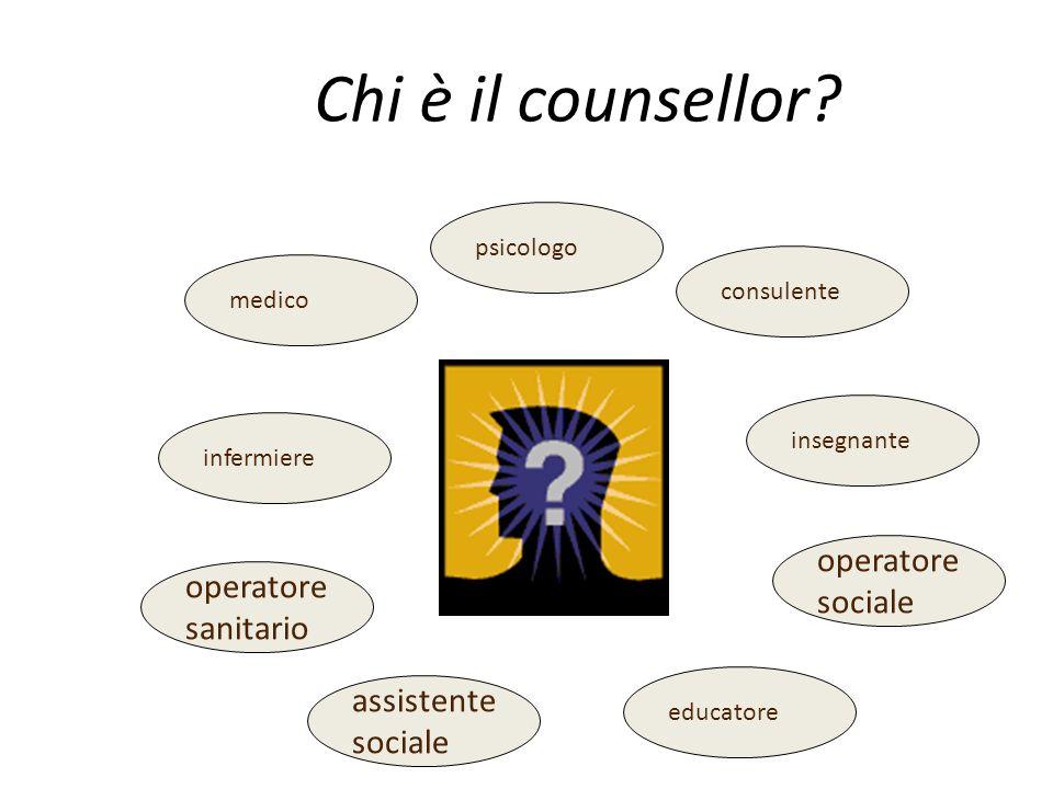 Chi è il counsellor? medico infermiere operatore sanitario psicologo consulente assistente sociale educatore insegnante operatore sociale