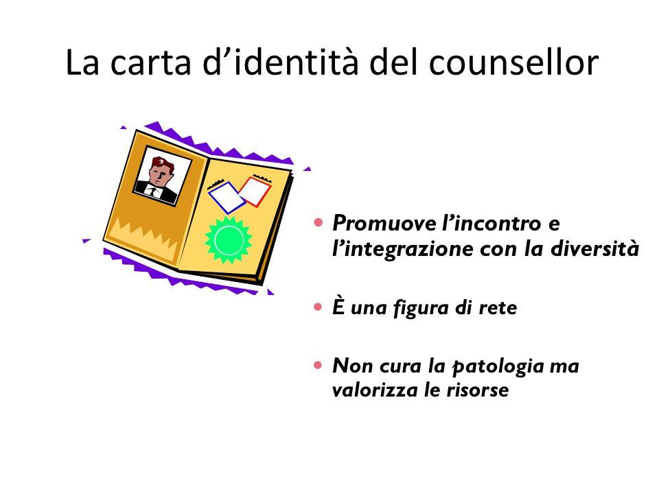 La carta didentità del counsellor Promuove lincontro e lintegrazione con la diversità È una figura di rete Non cura la patologia ma valorizza le risor