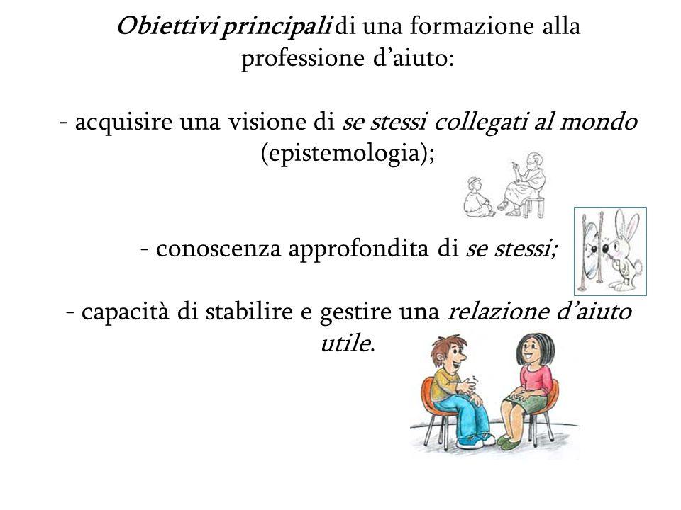 Obiettivi principali di una formazione alla professione daiuto: - acquisire una visione di se stessi collegati al mondo (epistemologia); - conoscenza