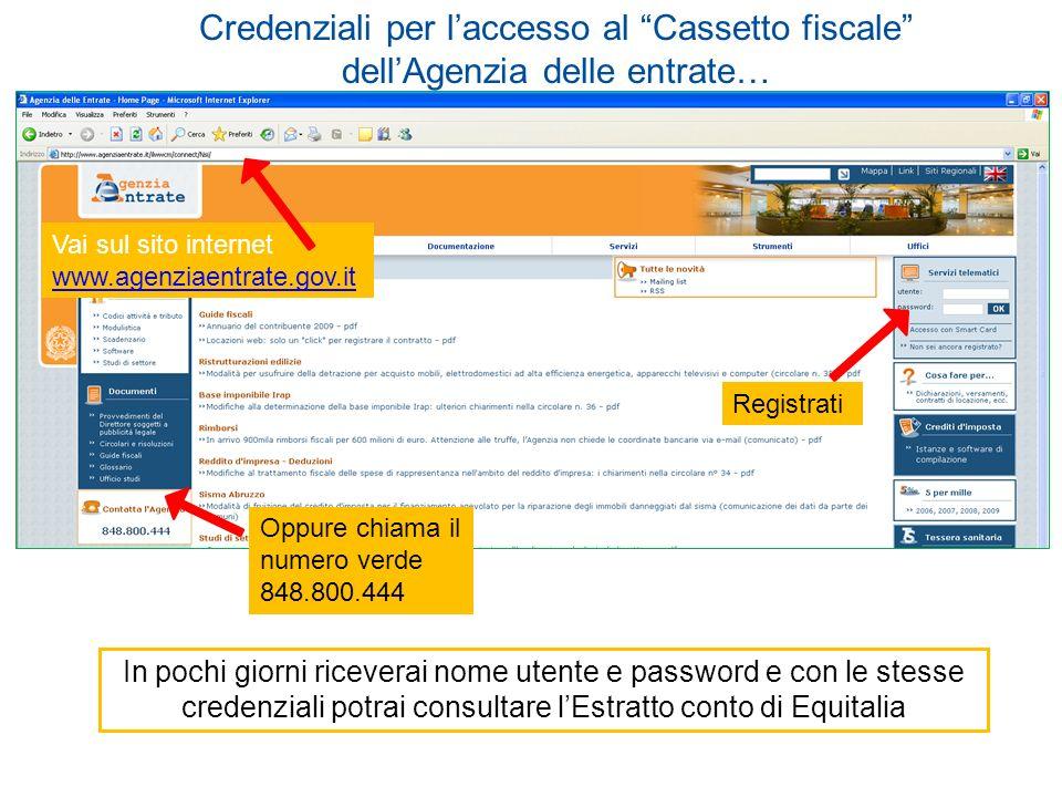 Registrati Oppure chiama il numero verde 848.800.444 In pochi giorni riceverai nome utente e password e con le stesse credenziali potrai consultare lE
